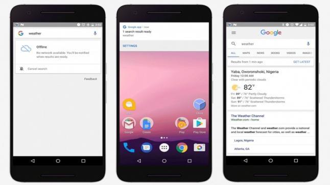 تحديث جديد لتطبيق قوقل سارش Google Search يعطي لمستخدمي إمكانية إظهار النتيجة البحثية بمجرد الاتصال بالانترنت