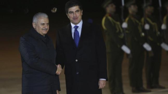 رئيس الوزراء التركي يصل إلى كردستان العراق عقب زيارته لبغداد
